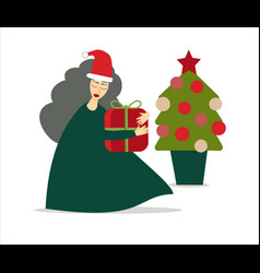 Woman or mrs claus character with christmas gift vector