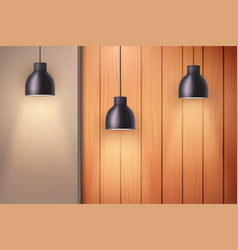 Wooden wall with vintage lamps vector