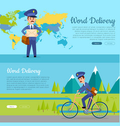 world delivery set of two pictures with postmen vector image