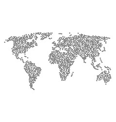 Worldwide map collage of refresh icons vector