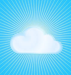 cloud on blue background with radiating from the vector image