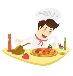 Funny chef decorating pizza dish in the kitchen vector image