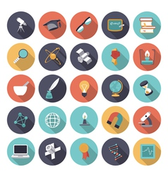 icons flat colors science vector image vector image