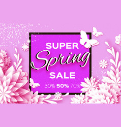 Origami white super spring sale flowers banner vector