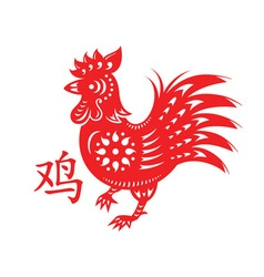 Rooster papercut symbol vector image vector image