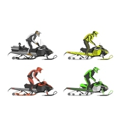 Set of snowmobiles Transport for extreme vector image vector image