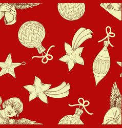christmas pattern ornaments over red background vector image