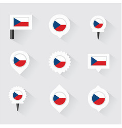 czech republic flag and pins for infographic and vector image