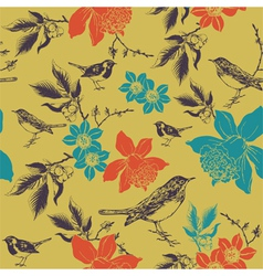 Daffodils and birds vector image vector image