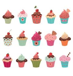 Delicious yummy cupcakes set vector