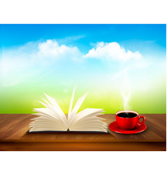 Open book and red cup on a wooden deck with green vector