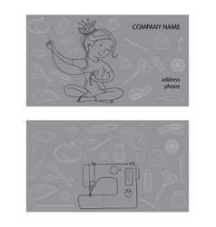 Sewing studio business card template vector