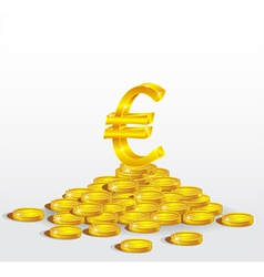 Symbol of Gold Euro with coins vector image