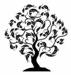 tree silhouette old grass vector image vector image
