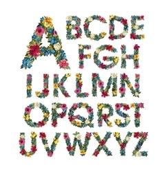 Colorful floral alphabet vector image