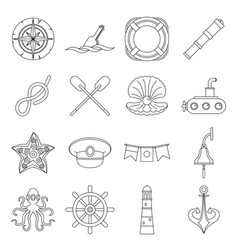 nautical icons set outline style vector image vector image