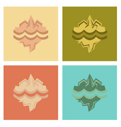 assembly flat icons nature melting glacier vector image vector image