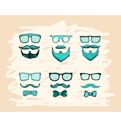beards mustaches glasses and bows print vector image vector image