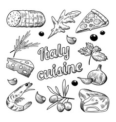 italian food hand drawn doodle pizza cheese vector image