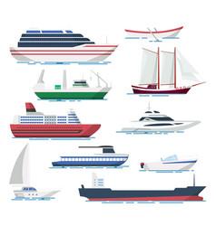 sea ship and boats set vector image vector image