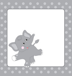 template card with cute elephant vector image vector image