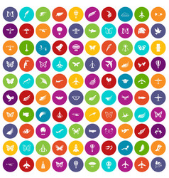 100 fly icons set color vector