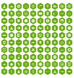 100 logotype icons hexagon green vector
