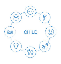 8 child icons vector