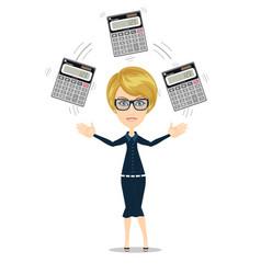 Accountant juggling a calculators in his hands vector