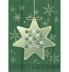 advent calendar with christmas star vector image