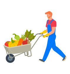 Agricultural worker with vegetables in cart vector
