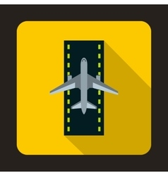 Airplane on runway icon flat style vector