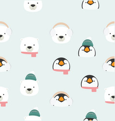 bapenguin and bear accessory pattern vector image