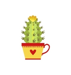 Blooming Tall Cactus In A Cup vector image
