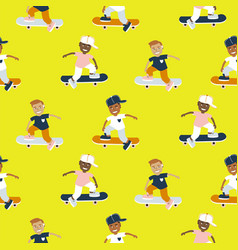 boys riding on a skateboard cartoon style vector image