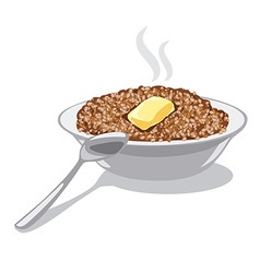 Buckwheat porridge with butter vector