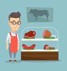 butcher offering fresh meat in a butchershop vector image
