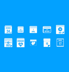 calendar date icon blue set vector image