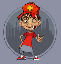 cartoon guy in a red cap winks and shows a gesture vector image