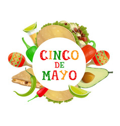 cinco de mayo fiesta tacos tequila and maracas vector image