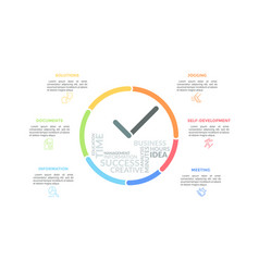 colorful lines forming clock with hands and word vector image