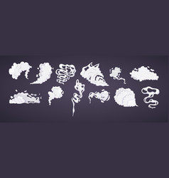 comic smoke cloud set smoking cartoon steam vector image