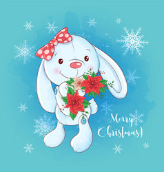 cute christmas card with cartoon bunny and a vector image
