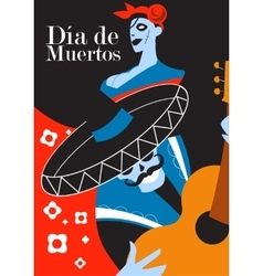 Day of the dead party dea de los muertos card vector