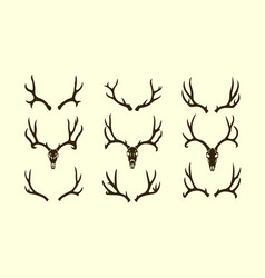 Deer antler silhouette set vector