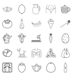 Diet food icons set outline style vector
