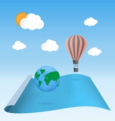 Discover the planet balloon floating on blank wavi vector