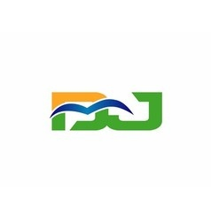 Dj company linked letter logo vector