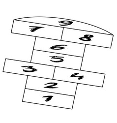 drawing of a hopscotch court or game vector image