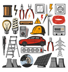 Electricity power and electric tools icons vector